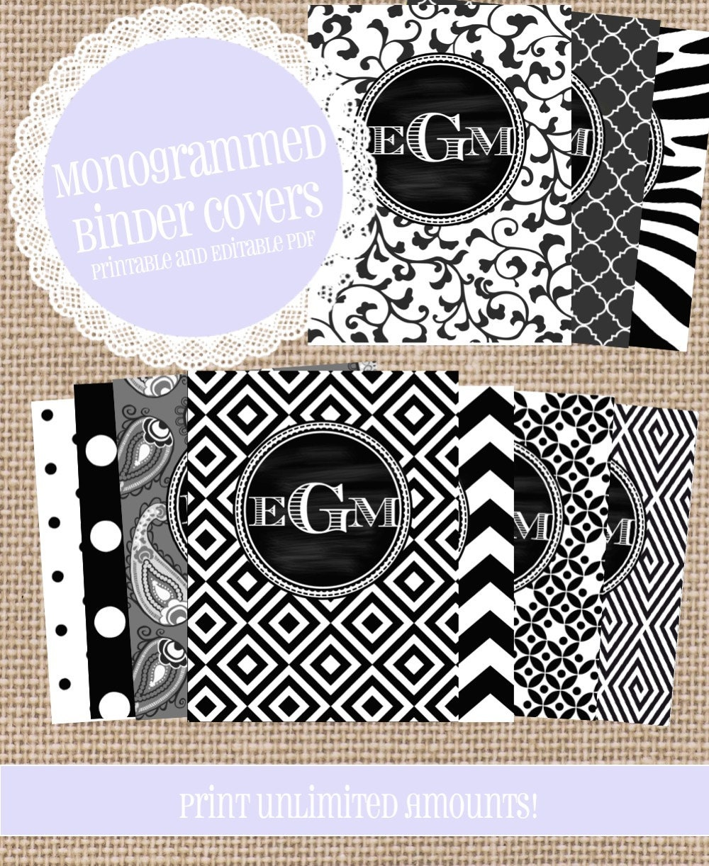 10 Black And White MONOGRAMMED Binder Covers By