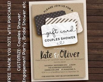 Couples shower invitation, gift card invitation, printable invitation