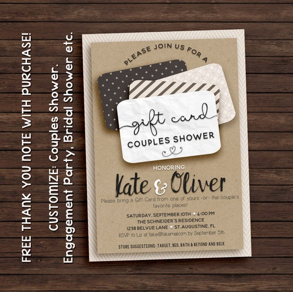 Couples shower invitation, gift card invitation, printable invitation