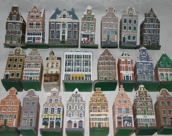 Dutch Canal Houses 23 pieces,  Amsterdam grachtenhuizen, Delft Holland row house, Canal house Collectible canal house Amsterdam Photo