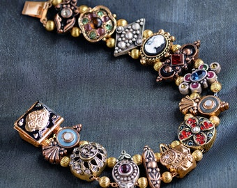Gold Victorian Slide Bracelet, Cameo Bracelet, Charm Bracelet, Vintage Bridal Jewelry, Wedding Bracelet, Renaissance Jewelry BR105