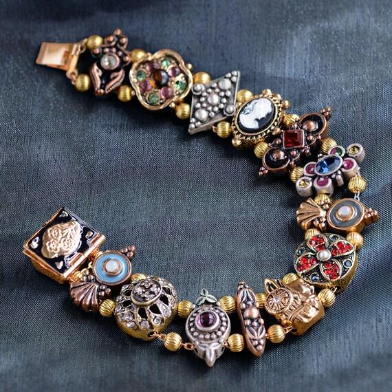 Gold Victorian Slide Bracelet Cameo Bracelet Charm Bracelet