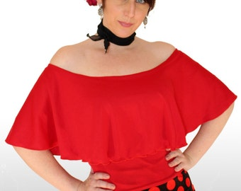 Womens Frill Top, All Colors! Bardot top, Off Shoulder top, Tango top, Salsa top, Romantic top, Dancer gift, Romantic outfit, Spanish Top