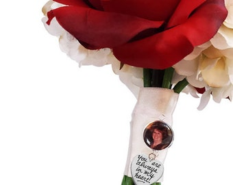 Wedding Memorial Bouquet Charm- Wedding Bouquet Memorial Charm- Wedding Memorial Charm- Wedding Keepsake- Bridal Bouquet Photo Charm