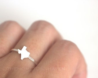 Texas State Ring - I heart Texas, Sterling Silver Texas map, Texan pride, Texas outline