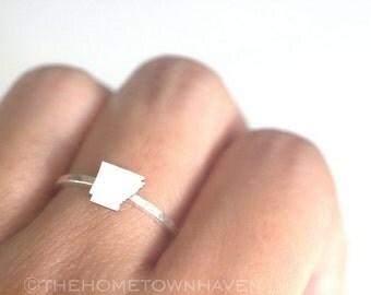 Arkansas Ring - I heart Arkansas ring, Arkansas state ring, Stacking rings, Arkansas map ring