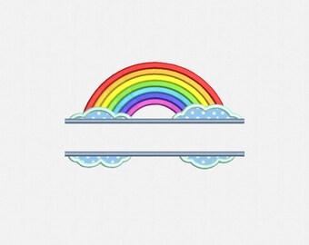 Split Rainbow Applique Machine Embroidery Design - 1 Size