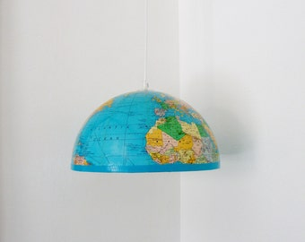 UpCycled Repurposed Vintage world globe pendant light