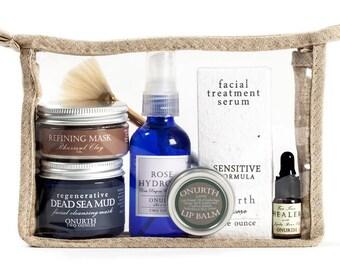 Sensitive Skin Facial Kit, Facial Care Set, Soothing Facial Gift Set, Facial Travel Set, Aromatherapy Facial Pouch Set, Facial Calming Kit