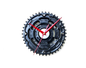 Black Modern Wall Clock, Large Wall Clock, Steampunk Wall Clock, Bicycle Wall Clock, Bike Wall Clock, Big Wall Clock Industrial Wall Clock,