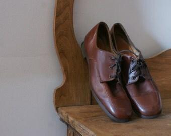 Chestnut Brown Mid Century Vintage Soft Leather Lace Up Women's Oxford Shoe Size 9