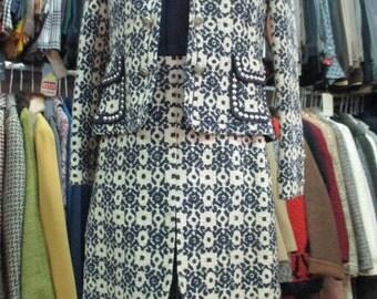 Tailleur anni 60/Smanicato e bolero.Lana e shantung.Tg 42/60s lovely suit/Sleeveless dress and top/BY Jean Louis Brechard Paris/Size 8 USA