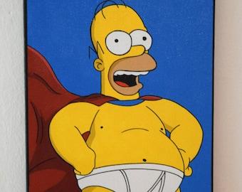 Homer Simpson New Avengers-pop art canvas hand painted