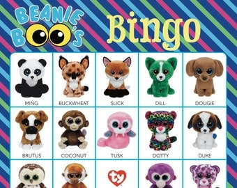 Beanie Boos Bingo Cards ~ 14 Unique Cards with EXTRA LARGE calling cards for little hands — Instant Digital Download