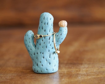 Cactus ring holder - Cactus art - Cactus jewelry holder -Cactus jewelry storage -Cactus wedding favor -Gift for her -Ring tree -Cactus decor