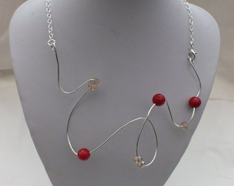 Wire wrapped Red Carnelian statement necklace