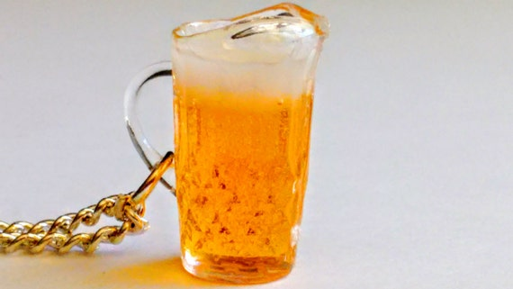 Pitcher of Beer Necklace - Miniature Food Jewelry - Inedible Jewelry - Beer Jewelry - Beer Necklace - Oktoberfest Jewelry - Frothy Beer Mug