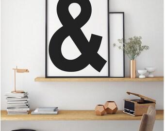 Ampersand Poster, Black and White Printable, Modern Print, Kids Wall Art, Typography Print, Poster Modern, Kids Printable Art, Scandinavian