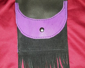 Black and Purple leather phone purse