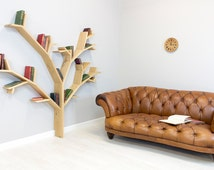 The Hazel Tree Bookcase 1.8m wide by 1.8m high - In a range of Solid Oak Finishes