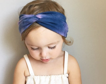 Tie-dye Baby Turban Headwrap - Blue and Pink