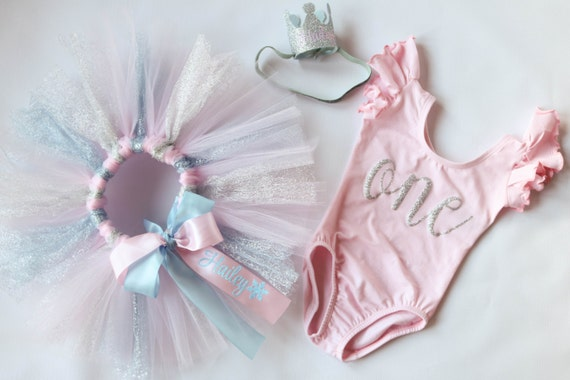 First Birthday Girl Outfit - 1st Birthday Outfit - Winter Onederland - Cake Smash Outfit - First Birthday Tutu - Personalized - Pink Silver