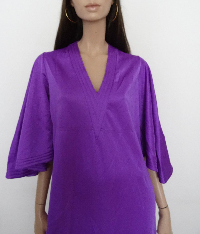 robe vintage violet boh me boho chic ann es 70 39 s manche. Black Bedroom Furniture Sets. Home Design Ideas