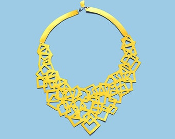 CUBE - Handmade Necklace faux leather cut