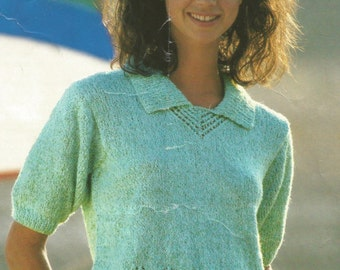 Knitting Pattern Girls/ Ladies Spring / Summer Top short sleeved with collar in DK / Worsted/ 8 ply size 30-40in 76-122cm