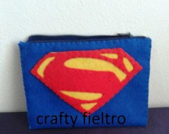 superman coin purse, superman felt coin purse, felt coin purse, coin purse, coin purse zipper