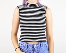 90s Sleeveless Mock Turtleneck Crop Top, Ribbed Top, Black and White Striped Top, Cropped Knit Blouse, Size Small