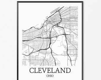 Cleveland Map Art Print, Cleveland Poster Map of Cleveland Decor, Cleveland City Map Art, Cleveland Gift, Cleveland Ohio Art Poster