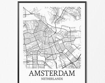 Amsterdam Map Art Print, Amsterdam Poster Map of Amsterdam Decor, Amsterdam City Map Art, Amsterdam Gift, Amsterdam Netherlands Art Poster