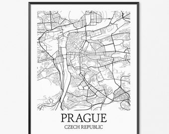 Prague Map Art Print, Prague Poster Map of Prague Decor, Prague City Map Art, Prague Gift, Prague Czech Republic Art Poster