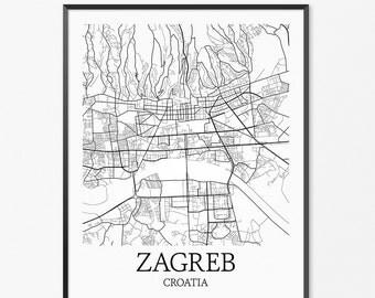 Zagreb Map Art Print, Zagreb Poster Map of Zagreb Decor, Zagreb City Map Art, Zagreb Gift, Zagreb Croatia Art Poster
