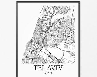 Tel Aviv Map Art Print, Tel Aviv Poster Map of Tel Aviv Decor, Tel Aviv City Map Art, Tel Aviv Gift, Tel Aviv Israel Art Poster
