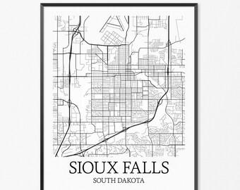 Sioux Falls Map Art Print, Sioux Falls Poster Map of Sioux Falls Decor, Sioux Falls City Map Art, Sioux Falls Gift, Sioux Falls Art Poster