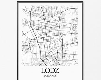 Lódz Map Art Print, Lódz Poster Map of Lódz Decor, Lódz City Map Art, Lódz Gift, Lódz Poland Art Poster