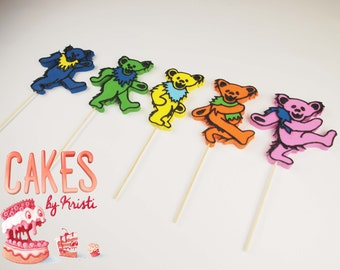 Five Fondant Grateful Dead Inspired Dancing Bear Cake Toppers (MADE TO ORDER)