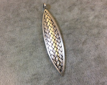 """2.25"""" Long Tibetan Silver Basketweave Textured Marquis Shaped Focal Pendant - Measuring 15mm x 55mm with Attached Bail - Sold Individually"""