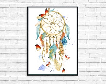 Dreamcatcher Print Dream Catcher Wall Art Boho Poster Instant Download Native America Tribal Instant Download Blue Red Printable Digital