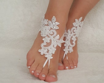 White Ivory Lace Barefoot Sandals Wedding Flexible Wrist Beach