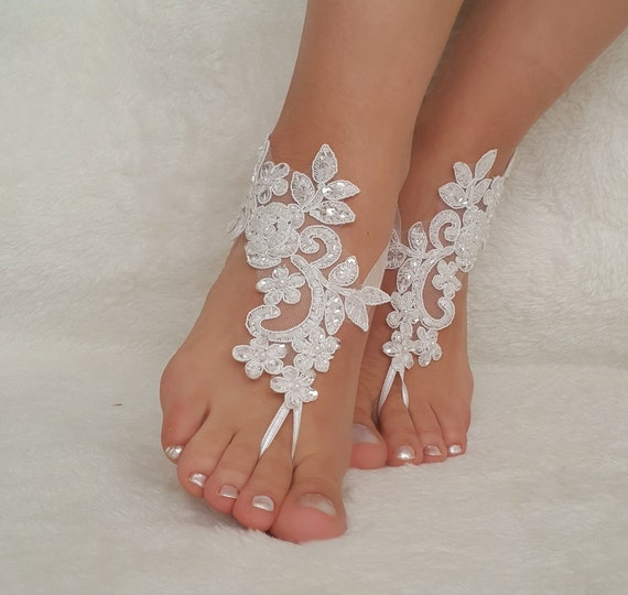 Sandals Beach House: White Ivory Lace Barefoot Sandals Wedding Barefoot