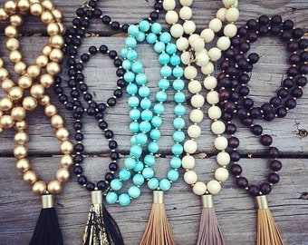 Neutral Leather Tassel Necklace