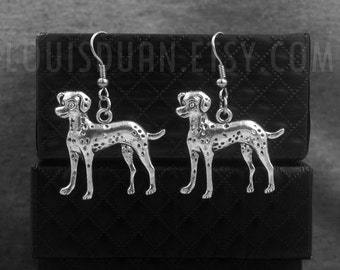 Silver Dalmatian Earrings -Dog Earrings -Pet Lover -Gift For Her -Bridesmaid Jewelry -With Gift Box