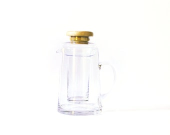 SOLD****Vintage Japanese Glass Pitcher with Ice Compartment and Bamboo Lid