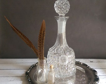 Vintage Decanter/ Crystal Decanter/ Heavy Crystal Wine Decanter/ Lead Crystal Decanter with Roses/ Whiskey Decanter/ Wine Decanter