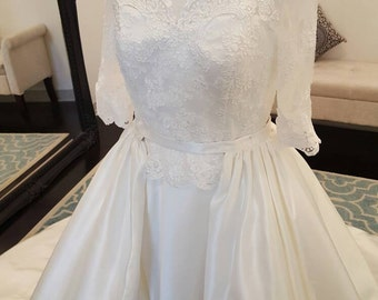 Elegant satin and lace wedding dress with Detachable Ball Gown Overskirt, Transformational Wedding Dress, Overskirt, Unique Wedding Dress