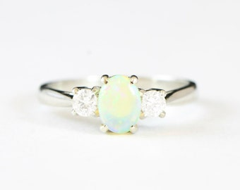 White gold Opal and Diamond engagement ring in 18 carat gold for her handmade ring UK