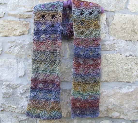 Cross Stitch Knitting Pattern Scarf : Hand knitted multi colour scarf Cross stitch pattern wool